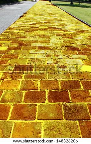 Yellow brick road - stock photo