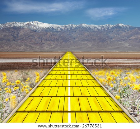 yellow brick road - stock photo