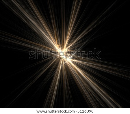 Yellow bright lens flare - stock photo