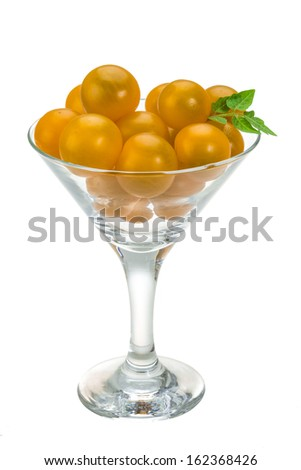 Yellow bright tomato isolated