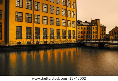yellow building with nice evening light