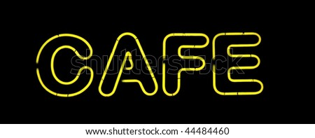 Yellow cafe neon sign on black - stock photo