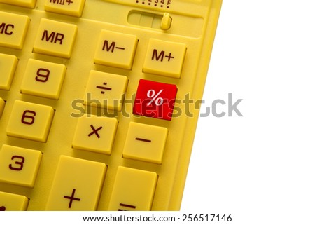 yellow calculator with red button on with background - stock photo