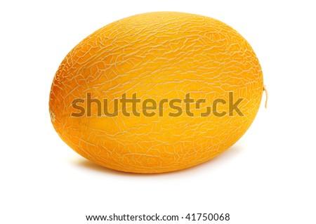 Yellow cantaloupe isolated on white - stock photo