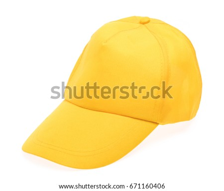 Yellow cap isolated on white background.