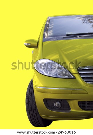 Yellow car isolated on yellow. - stock photo
