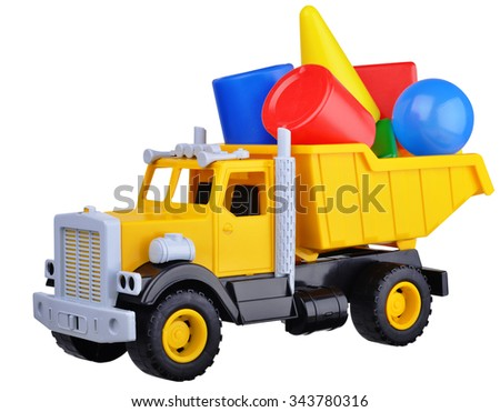 Yellow cargo toy truck isolated over white background - stock photo