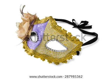 Yellow carnival mask on white background