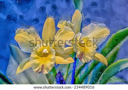 Yellow cattlyea orchids - stock photo