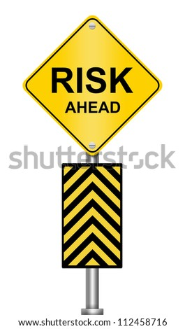 Yellow Caution Road Sign With Risk Ahead Isolated on White Background - stock photo