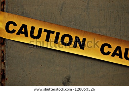 Yellow Caution Sign - stock photo