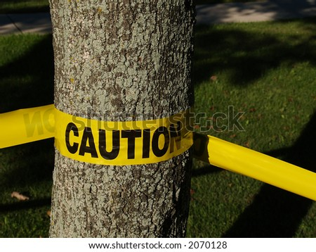 Yellow caution tape wrapped around a tree trunk - stock photo