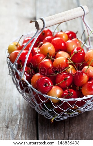 Yellow cherries in a basket
