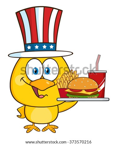 Yellow Chick Cartoon Character With USA Patriotic Hat Holding A Fast Food Tray. Raster Illustration Isolated On White - stock photo