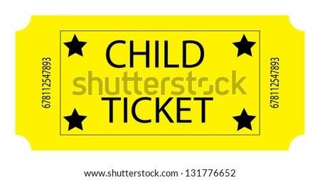 Yellow Child Ticket - stock photo