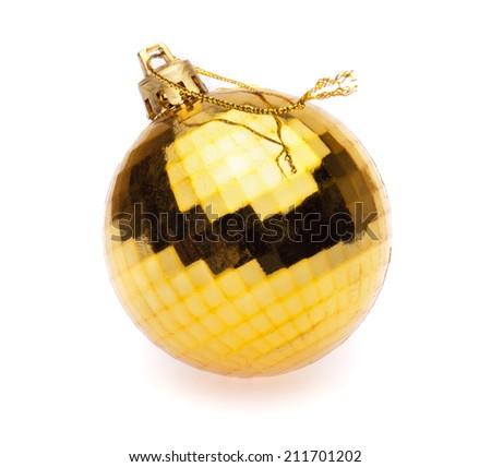 yellow christmas ball on white background - stock photo