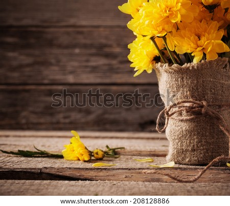 yellow chrysanthemum on wooden background - stock photo