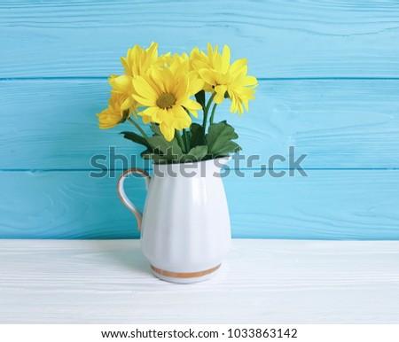 Yellow Chrysanthemum Vase On White Blue Stock Photo Royalty Free