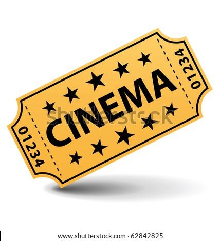 Yellow cinema ticket. - stock photo