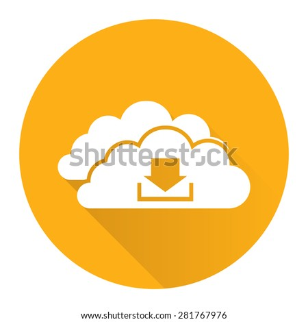 Yellow Circle Cloud Computing With Download Flat Long Shadow Style Icon, Label, Sticker, Sign or Banner Isolated on White Background - stock photo