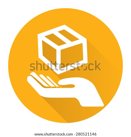 Yellow Circle Hand With Box, Handle With Care, Do Not Drop Flat Long Shadow Style Icon, Label, Sticker, Sign or Banner Isolated on White Background - stock photo