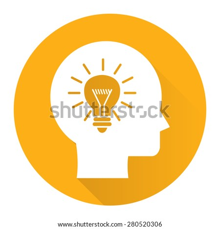 Yellow Circle Head With Light Bulb, Idea Flat Long Shadow Style Icon, Label, Sticker, Sign or Banner Isolated on White Background - stock photo