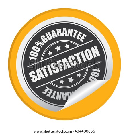 Yellow Circle Satisfaction 100% Guarantee Product Label, Campaign Promotion Infographics Flat Icon, Peeling Sticker, Sign Isolated on White Background