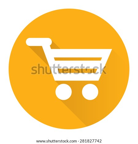 Yellow Circle Shopping Cart, Supermarket, Online Shopping Flat Long Shadow Style Icon, Label, Sticker, Sign or Banner Isolated on White Background - stock photo
