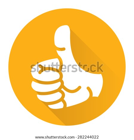 Yellow Circle Thumb Up Flat Long Shadow Style Icon, Label, Sticker, Sign or Banner Isolated on White Background - stock photo
