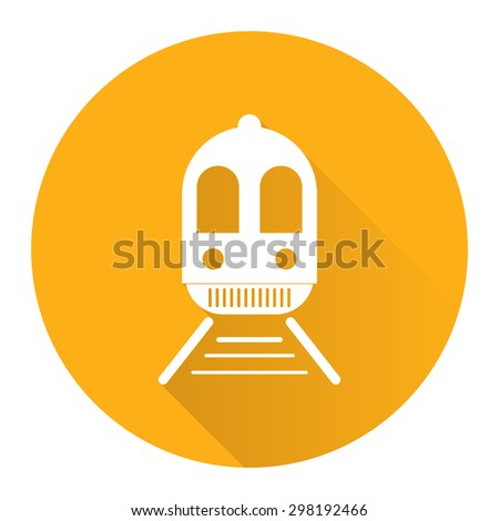 Yellow Circle Train, Subway Station or Railway Station Flat Long Shadow Style Icon, Label, Sticker, Sign or Banner Isolated on White Background - stock photo