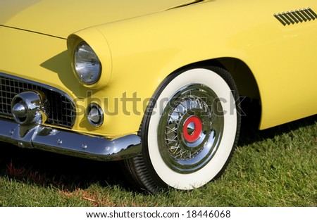 Yellow Classic Car - stock photo