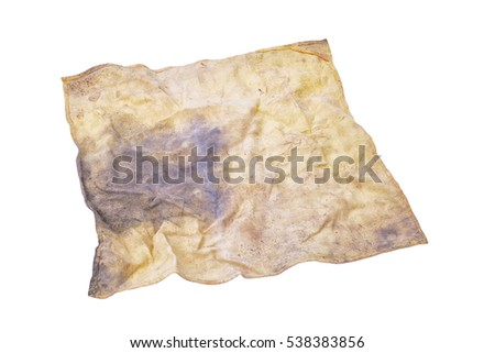 Yellow cleaning rag isolated on white. This has clipping path.