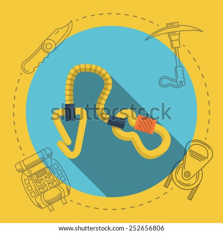 Yellow climbing gear on blue icon with gray contour outfit elements around. Flat color illustration for rock climbing on yellow background. Long shadow design - stock photo