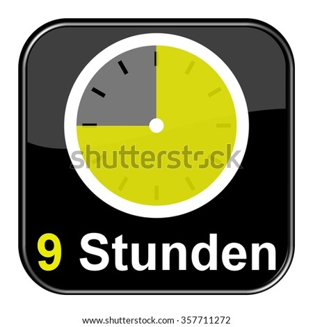 Yellow clock on black Button showing 9 hours in german language