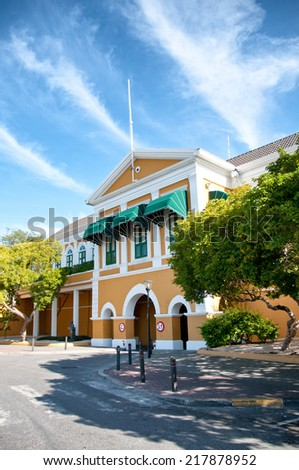 Yellow Colonial Building at Willemstad, Curacao, Caribbean - stock photo