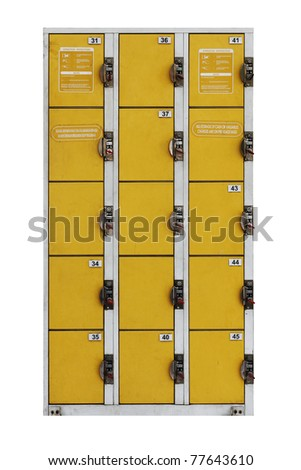 Yellow  color metal coin operated locker cabinet with operational instruction isolated against white background.