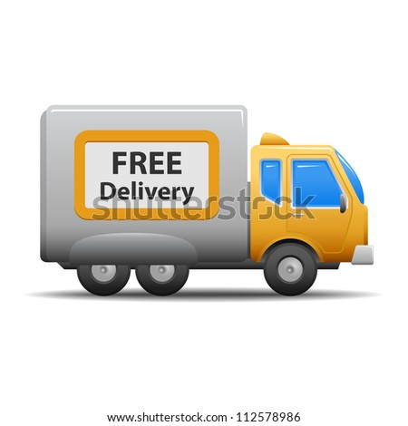 Yellow commercial delivery truck isolated on white background. - stock photo