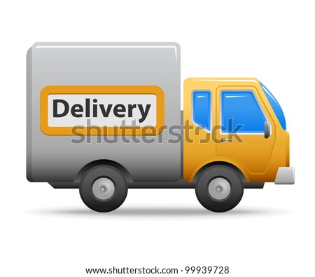 Yellow commercial vehicle isolated on white background.