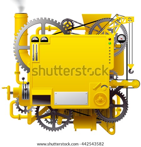 Yellow complex fantastic machine with gears, levers, pipes, meters and lifting crane. Steampunk style template, poster and techno background. 3D illustration. Contain the Clipping Path - stock photo