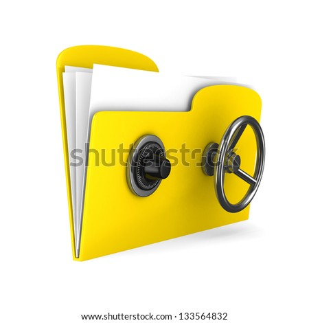 Yellow computer folder with lock. Isolated 3d image - stock photo