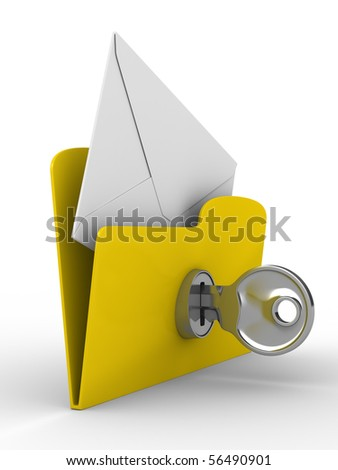 Yellow computer folder with mail on white background. Isolated 3d image - stock photo