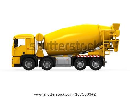 Yellow Concrete Mixer Truck - stock photo