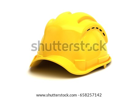 Yellow construction hat 3d illustration