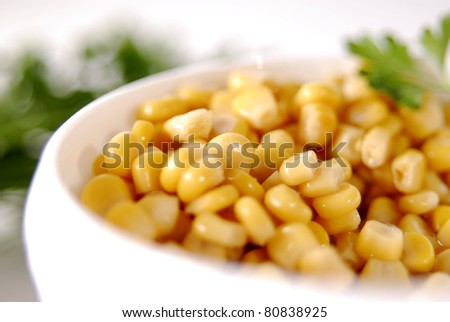 Yellow corn grains on a dish