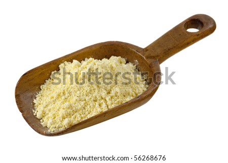 yellow cornmeal on a rustic wooden scoop isolated on white - stock photo
