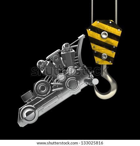 Yellow crane hook lifting chromed motorcycle engine isolated on black background High resolution 3d illustration - stock photo