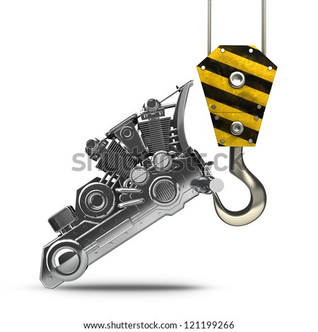 Yellow crane hook lifting chromed motorcycle engine isolated on white background High resolution 3d illustration - stock photo