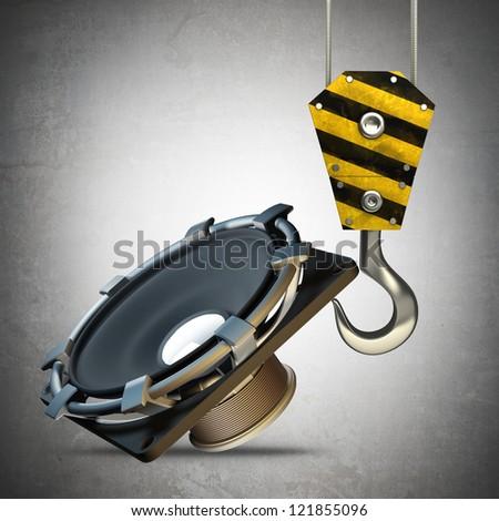 Yellow crane hook lifting Loudspeaker High resolution 3d illustration - stock photo