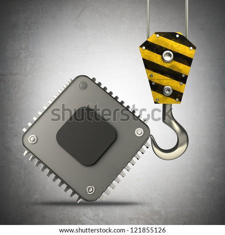 Yellow crane hook lifting Processor unit CPU  High resolution 3d illustration - stock photo