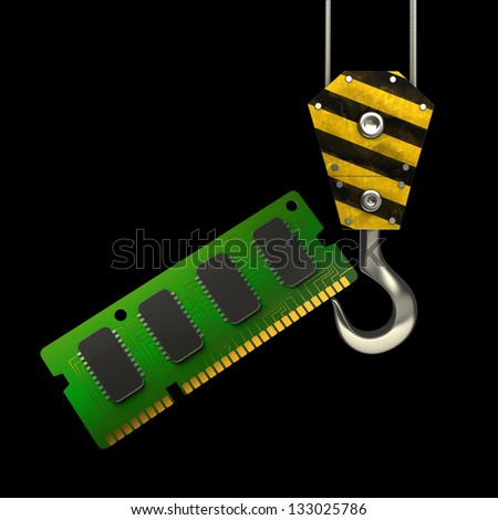 Yellow crane hook lifting RAM Memory Card isolated on black background High resolution 3d illustration - stock photo